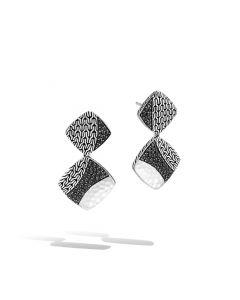 John Hardy Sterling Silver Hammered Black Sapphire Drop Earrings