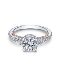 14K White/Rose Gold Round Diamond Engagement Ring