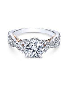 14K White/Rose Gold Twisted Round Diamond Engagement Ring