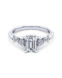 18K White Gold Emerald Cut Diamond Engagement Ring