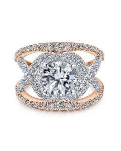 14K White/Rose Gold Round Halo Diamond Engagement Ring