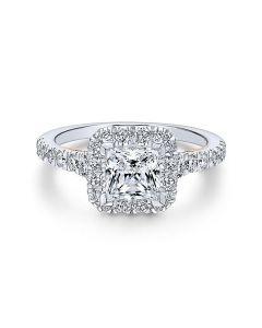 14K White/Rose Gold Princess Halo Diamond Engagement Ring