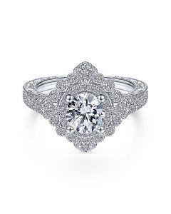 14K White Gold Art Deco Halo Engagement Ring