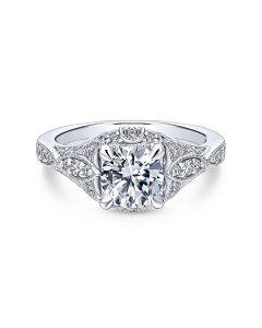14K White Gold Vintage Halo Engagement Ring