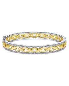 Gabriel & Co 14K Two Tone Chain Link Diamond Frame Bangle Bracelet