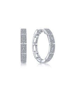 Gabriel & Co 14K White Gold 25mm Diamond Station Hoop Earrings