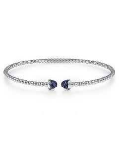 Gabriel & Co Sterling Silver Bujukan Pave Sapphire Cap Bracelet