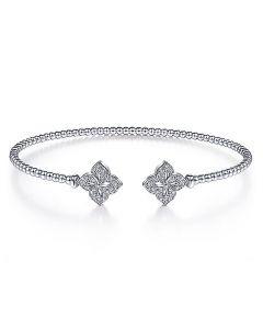 Gabriel & Co 14K White Gold Bujukan Split Cuff with Diamond Flower Tips