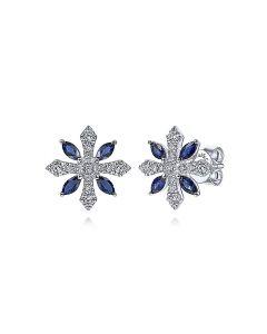 Gabriel & Co 14K White Gold Diamond and Sapphire Flower Stud Earrings