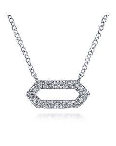 Gabriel & Co 14K White Gold Open Hexagon Diamond Pendant