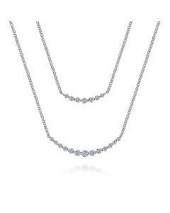Gabriel & Co 14K White Gold Double Curved Diamond Bar Fashion Necklace