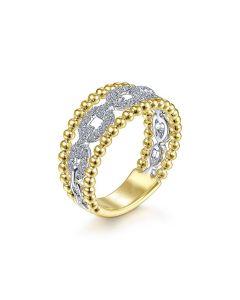 Gabriel & Co 14K Two Tone Diamond Link and Bujukan Bead Frame Ring
