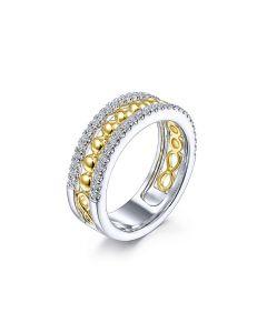 Gabriel & Co 14K Two Tone Gold Three Row Diamond and Bujukan Bead Center Ring
