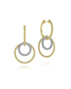Gabriel & Co 14K Two Tone Gold Diamond Open Circle and Rope Huggie Drop Earrings