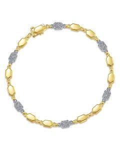 Gabriel & Co 14K Two Tone Pave Diamond Hexagon Bracelet