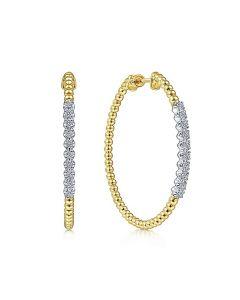 Gabriel & Co 14K Yellow Gold 40 mm Diamond and Bujukan Beaded Hoop Earrings