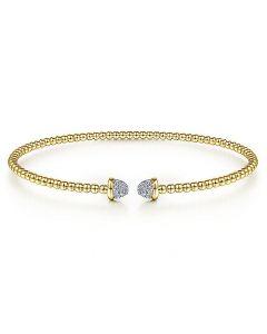 Gabriel & Co 14K Yellow Gold Bujukan Pave Diamond Cap Bracelet