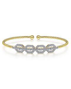 Gabriel & Co 14K Yellow Gold Bujukan Bead Cuff Bracelet with Diamond Links