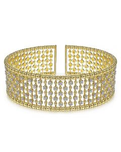 Gabriel & Co 14K Yellow Gold Bujukan Wide Beaded Diamond Bangle