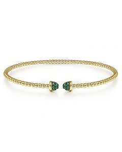 Gabriel & Co 14K Yellow Gold Bujukan Pave Emerald Cap Bracelet