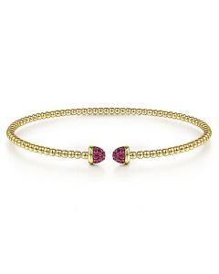 Gabriel & Co 14K Yellow Gold Bujukan Pave Ruby Cap Bracelet