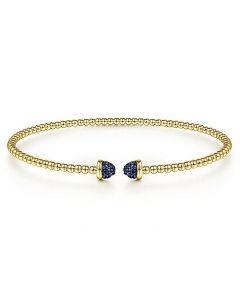 Gabriel & Co 14K Yellow Gold Bujukan Pave Sapphire Cap Bracelet
