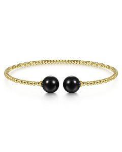 Gabriel & Co 14K Yellow Gold Bujukan Bead Black Onyx Cuff Bracelet