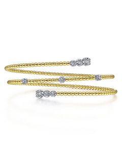 Gabriel & Co 14K Yellow Gold Bujukan Bead Coil Bracelet with Diamond Stations