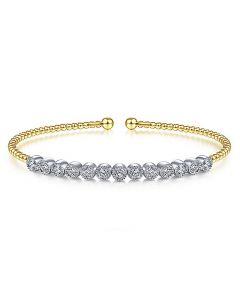 Gabriel & Co 14K Yellow Gold Bujukan Cuff Bangle with Bezel Set Diamonds