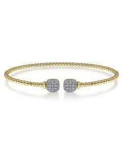 Gabriel & Co 14K Yellow Gold Bujukan Pave Diamond Tip Bracelet