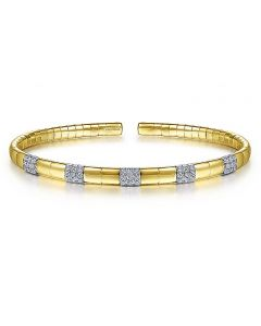 Gabriel & Co 14K Yellow Gold Cuff Bracelet with Pave Diamond Stations