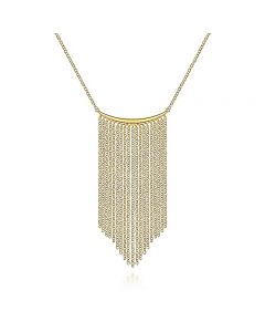 Gabriel & Co 14K Yellow Gold Curved Bar Waterfall Chain Necklace
