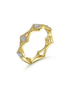 Gabriel & Co 14K Yellow Gold Bujukan Beaded and Diamond Cluster Station Ring