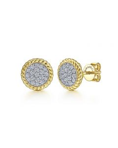 Gabriel & Co 14K Yellow Gold Diamond Earrings with Rope Edge