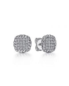Gabriel & Co Sterling White Sapphire Stud Earrings with Rope Frame