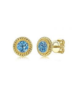 Gabriel & Co 14K Yellow Gold Blue Topaz and Twisted Rope Frame Stud Earrings