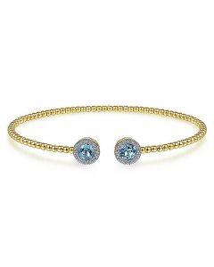 Gabriel & Co 14K Yellow Gold Bujukan Cuff with Swiss Blue Topaz and Diamond Halos