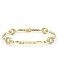 Gabriel & Co 14K Yellow Gold Open Square Diamond Bracelet