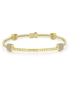 Gabriel & Co 14K Yellow Gold Square Diamond Cluster Bracelet