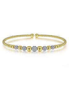 Gabriel & Co 14K Two Tone Bujukan Pave Diamond Station Bracelet