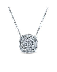 "Gabriel & Co 14K White Gold Cushion Diamond Pendant 18"" Necklace"