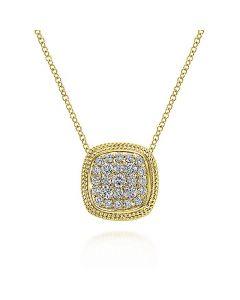 "Gabriel & Co 14K Yellow Gold Cushion Diamond Pendant 18"" Necklace"