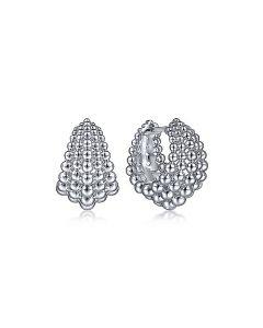 Gabriel & Co Sterling Silver 15MM 5-Row Beaded Huggie Earrings