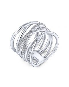 Gabriel & Co Sterling Silver Crossover White Sapphire Band