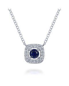 Gabriel & Co 14K White Gold Sapphire Diamond Halo Pendant