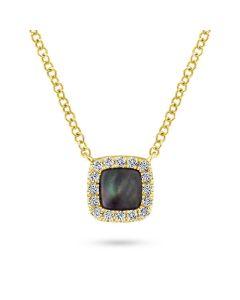 Gabriel & Co 14K Yellow Gold Black Mother of Pearl Diamond Halo Pendant