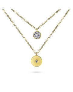 Gabriel & Co 14K Yellow Gold Double Disc Pendant Necklace