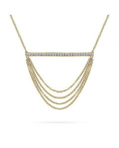 Gabriel & Co 14K Yellow Gold  Draped Chain Diamond Bar Necklace