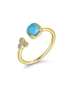 Gabriel & Co 14K Yellow Gold Turquoise Open Wrap Ring