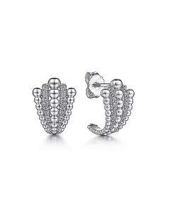 """Gabriel & Co Sterling White Sapphire Beaded """"J"""" Stud Earrings"""